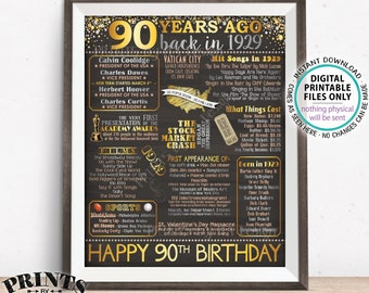 "90th Birthday Gift, Born in 1929 Birthday Flashback 90 Years Back in 1929 B-day, Gold, PRINTABLE 16x20"" Sign <ID>"