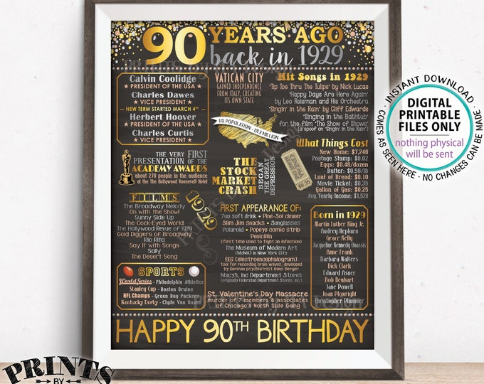 """90th Birthday Gift, Born in 1929 Birthday Flashback 90 Years Back in 1929 B-day, Gold, PRINTABLE 16x20"""" Sign <ID>"""