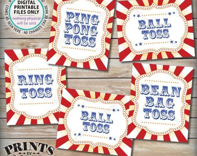 "Carnival Games Signs, Carnival Theme Party Tossing Game, Bean Bag Ring Potty Ping Pong, Circus Theme Party, PRINTABLE 8x10/16x20"" Signs <ID>"
