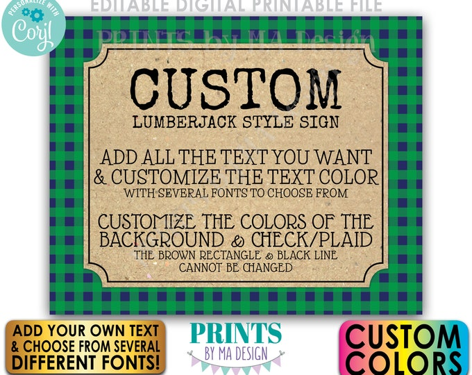 """Custom Lumberjack Sign, Choose Your Text, Custom Color Buffalo Plaid, One PRINTABLE 8x10/16x20"""" Landscape Sign <Edit Yourself with Corjl>"""