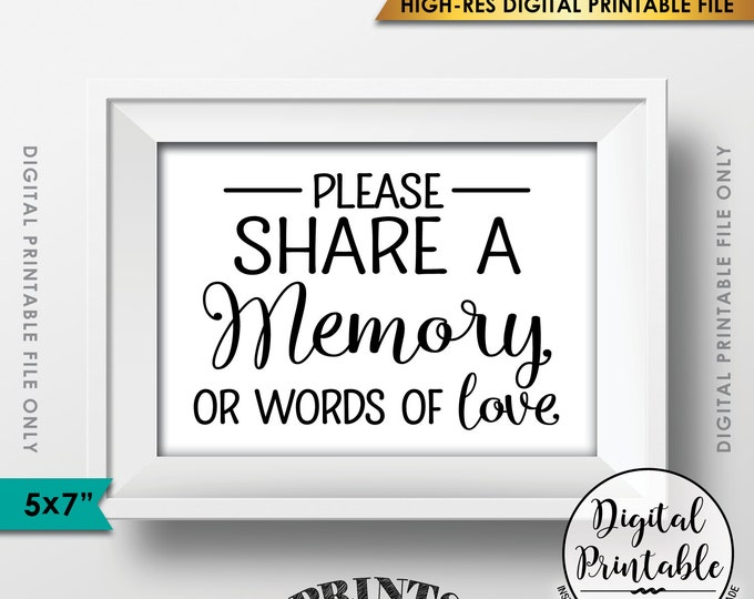 "Share a Memory Sign, Share Memories, Please Write a Memory Card, Graduation, Birthday Party, 5x7"" Instant Download Digital Printable File"
