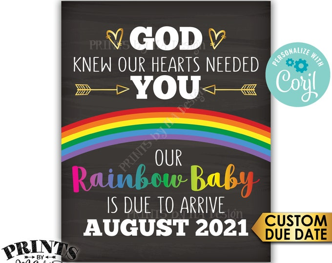 "Rainbow Baby Pregnancy Announcement, God Knew Our Hearts Needed You, Chalkboard Style PRINTABLE 8x10/16x20"" Sign <Edit Yourself with Corjl>"