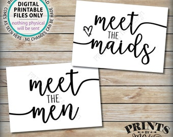 "Meet the Maids & Men Signs, Intro Maids and Men Bridal Party Introductions, Bridesmaids Groomsmen, Two PRINTABLE 5x7"" Wedding Signs <ID>"