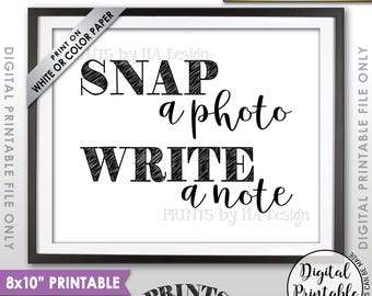 """Snap a Photo and Write a Note Sign, Take a Photo Guestbook, Birthday, Graduation, Reunion, Retirement, PRINTABLE 8x10"""" Instant Download"""