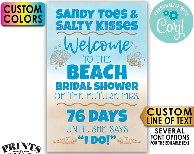 """Beach Bridal Shower Countdown Sign, Beach Wedding Shower Welcome Poster, PRINTABLE 24x36"""" Watercolor Style Sign <Edit Yourself w/Corjl>"""