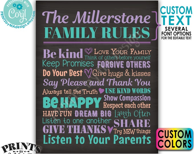 "Editable Family Rules Sign, Family Wall Art, House Rules, Custom PRINTABLE 8x10/16x20"" Chalkboard Style Sign <Edit Yourself w/Corjl>"