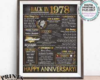 """1978 Anniversary Poster, Back in 1978 Anniversary Gift, Flashback to 1978 Party Decoration, PRINTABLE 16x20"""" Sign <ID>"""