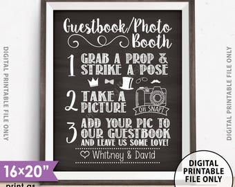 "Guestbook Photobooth Sign, Add photo to our Guestbook Sign Guestbook Photo Station Sign, Chalkboard Style PRINTABLE 8x10/16x20"" Wedding Sign"