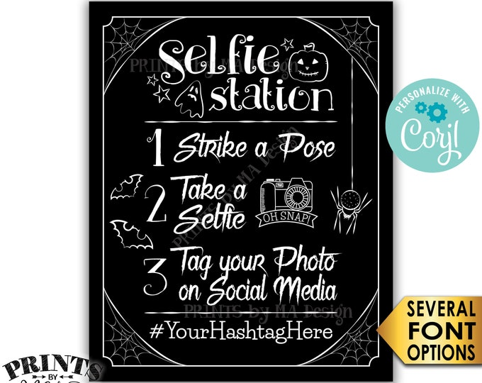 "Halloween Party Selfie Station Sign, Tag your Photo, Share on Social Media, PRINTABLE 8x10/16x20"" Hashtag Sign <Edit Yourself with Corjl>"