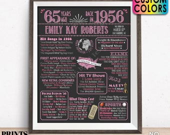 """65th Birthday Poster Board, Born in 1956 Flashback 65 Years Ago B-day Gift, Custom PRINTABLE 16x20"""" Back in 1956 Sign"""