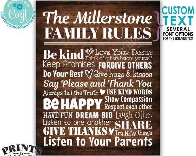 """Editable Family Rules Sign, Family Wall Art, House Rules, Custom PRINTABLE 8x10/16x20"""" Rustic Wood Style Sign <Edit Yourself w/Corjl>"""
