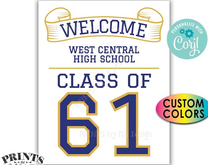 "Class Reunion Welcome Sign, Custom Class of Reunion Decorations, Custom PRINTABLE 8x10/16x20"" Sign <Edit Yourself with Corjl>"