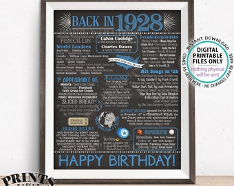 "1928 Birthday Flashback Poster, Back in 1928 Birthday Decorations, Blue B-day Gift, PRINTABLE 16x20"" B-day Sign <ID>"