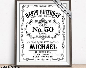 """Happy Birthday Sign, Aged to Perfection Vintage Whiskey Themed Birthday Poster, Better with Age Sign, 8x10/16x20"""" Digital PRINTABLE File"""