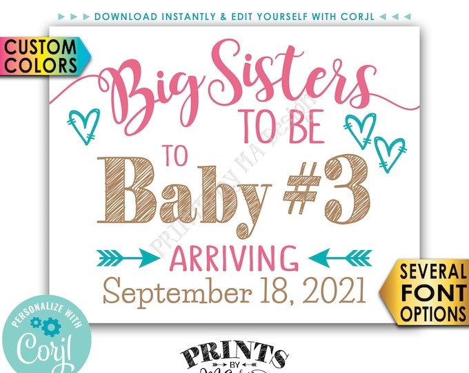 """Baby #3 Pregnancy Announcement, Big Sisters to 3rd Baby, PRINTABLE 8x10/16x20"""" Baby Number 3 Sign, Third Child <Edit Yourself with Corjl>"""