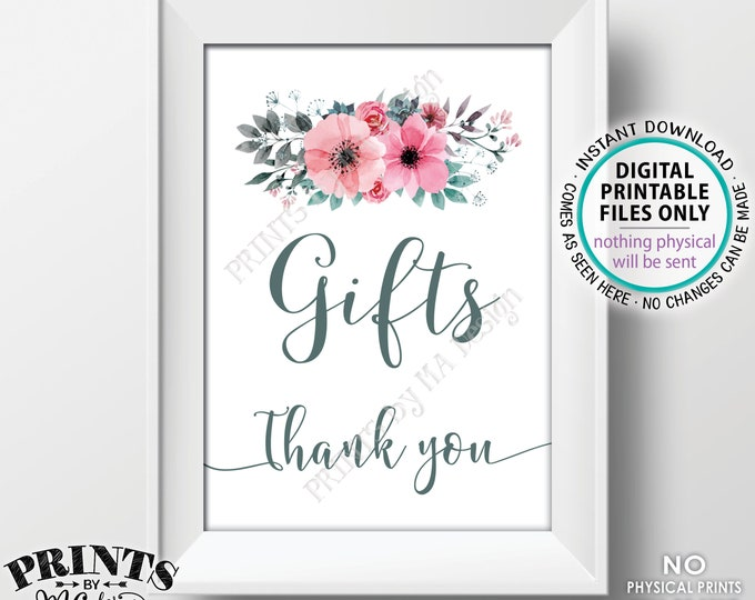 """Gifts Sign, Pink Teal/Turquoise Gray Flowers Decor, Baby Shower, Bridal Shower, Thank You, PRINTABLE 5x7"""" Watercolor Style Floral Sign <ID>"""