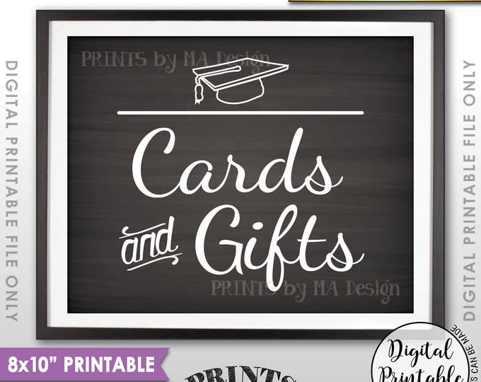 "Cards & Gifts Graduation Party Sign, Cards and Gifts for the Graduate, Gifts for the Grad, 8x10"" Chalkboard Style Printable Instant Download"