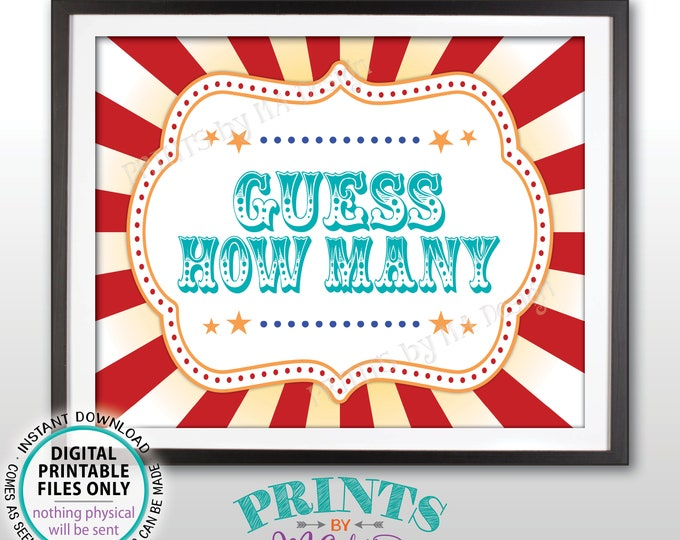"Guess How Many Sign, Guess the Number Carnival Theme Party Guessing Carnival Games, Teal/Turquoise, PRINTABLE 8x10/16x20"" Carnival Sign <ID>"