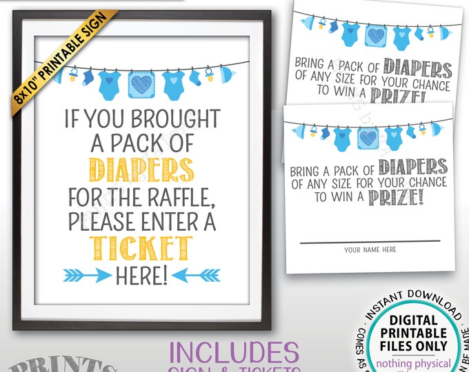 """Diaper Raffle Ticket Sign, Enter a Raffle Ticket Baby Shower Raffle Tickets, Blue, PRINTABLE 8x10"""" Sign & 8.5x11"""" Sheet of 2.5"""" Tickets <ID>"""