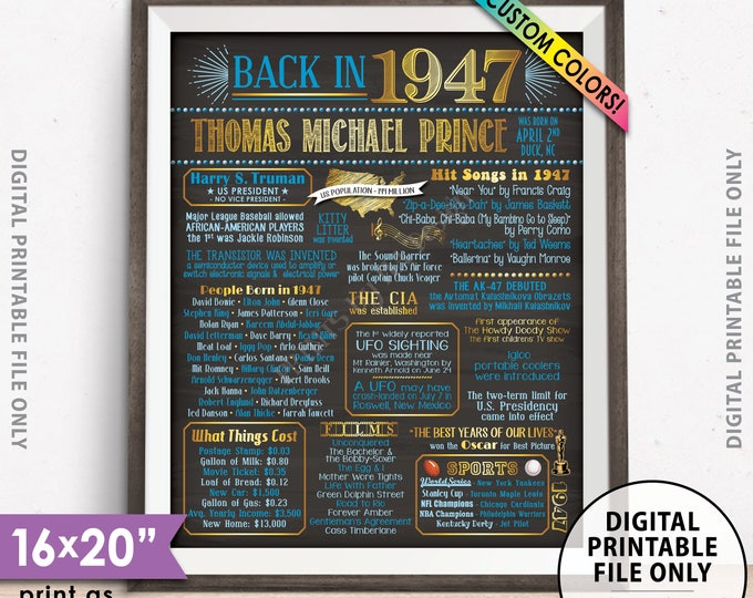 "Flashback to 1947 Poster, Back in 1947 Flashback Sign, Born in 1947 Birthday Party Decor, PRINTABLE 16x20"" 1947 Poster"