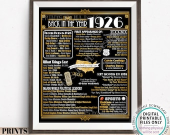 """Back in the Year 1926 Poster Board, Remember 1926, Flashback to 1926 USA History from 1926, PRINTABLE 16x20"""" Art Deco Sign <ID>"""