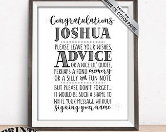 "Congratulations Graduate Advice Sign, Please leave your Advice, Wish, Memory, Message, Graduation Party, PRINTABLE 8x10"" Grad Party Decor"