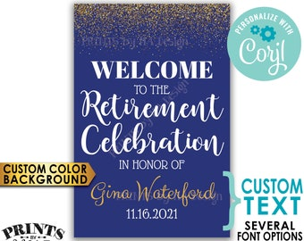 "Retirement Party Sign, Welcome to the Retirement Celebration, Gold Glitter, Custom PRINTABLE 24x36"" Sign <Edit Yourself with Corjl>"