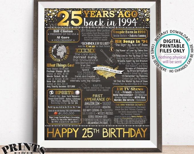 """25th Birthday Gift, Born in 1994 Birthday Flashback 25 Years Back in 1994 B-day, Gold, PRINTABLE 8x10/16x20"""" Chalkboard Style Sign <ID>"""