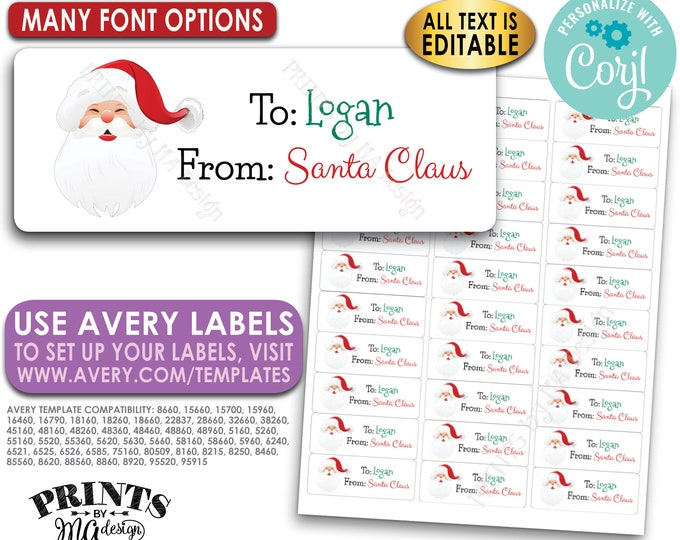 "Editable Christmas Gift Labels, Personlaized X-mas Present Tags, One Custom PRINTABLE 1x2-5/8"" Santa Label <Edit Yourself with Corjl>"