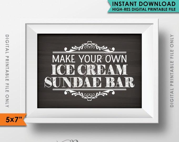 """Sundae Bar Sign, Wedding Reception, Celebration, Shower, Party, Chalkboard Bar Sign, 5x7"""" Instant Download Digital Printable File"""