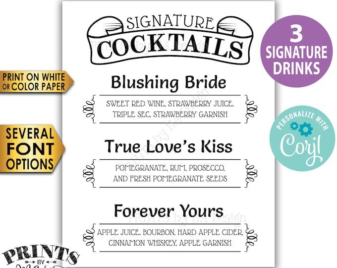 "Signature Cocktails Sign, 3 Signature Drinks Sign, Custom PRINTABLE Black & White 8x10/16x20"" Sign <Edit Yourself w/Corjl>"