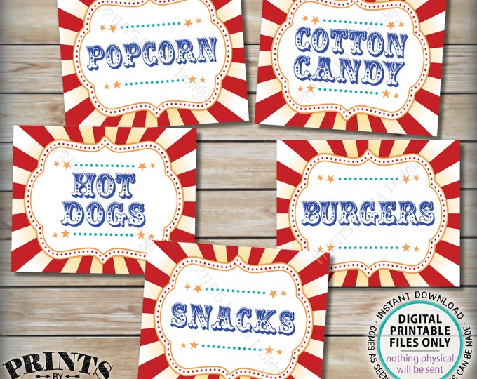 "Carnival Food Signs, Food Carnival Theme Party, Popcorn, Cotton Candy, Hot Dogs, Burgers, Circus Food, PRINTABLE 8x10/16x20"" Signs <ID>"