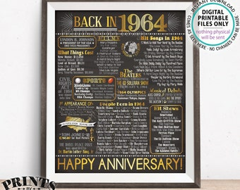 """1964 Poster, Flashback to 1964 Anniversary Party Decor, Married in 1964, Gold, Chalkboard Style PRINTABLE 16x20"""" 1964 Anniversary Sign <ID>"""