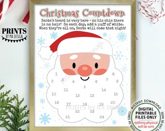 "Countdown to Christmas, Glue Cotton Balls on Santa's Beard Countdown Calendar, PRINTABLE 8.5x11"" Xmas Santa Countdown Sign <ID>"