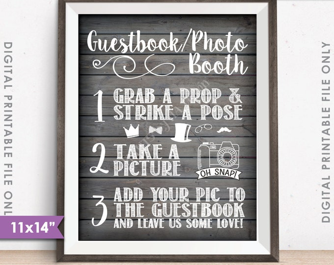 "Guestbook Photobooth Sign, Add photo to the guestbook Photo Booth Wedding Sign, Rustic Wood Style 11x14"" Instant Download Digital Printable"