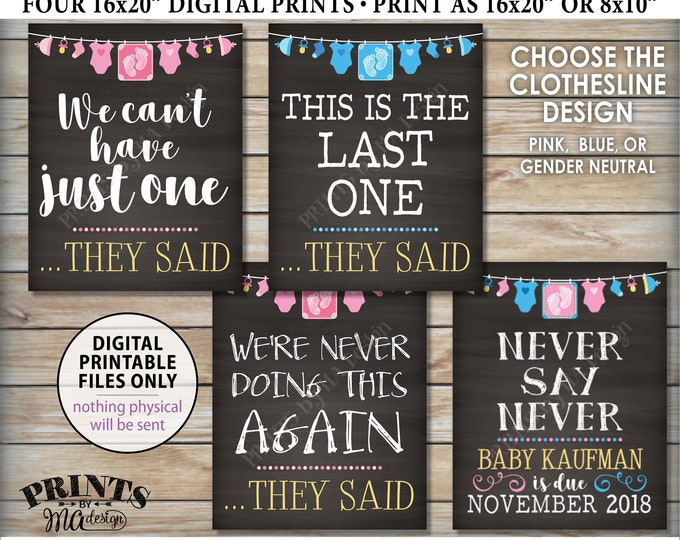 4th Baby Pregnancy Announcement Signs, Never Doing This Again This is Our Last One, Baby Number Four Chalkboard Style PRINTABLE Signs