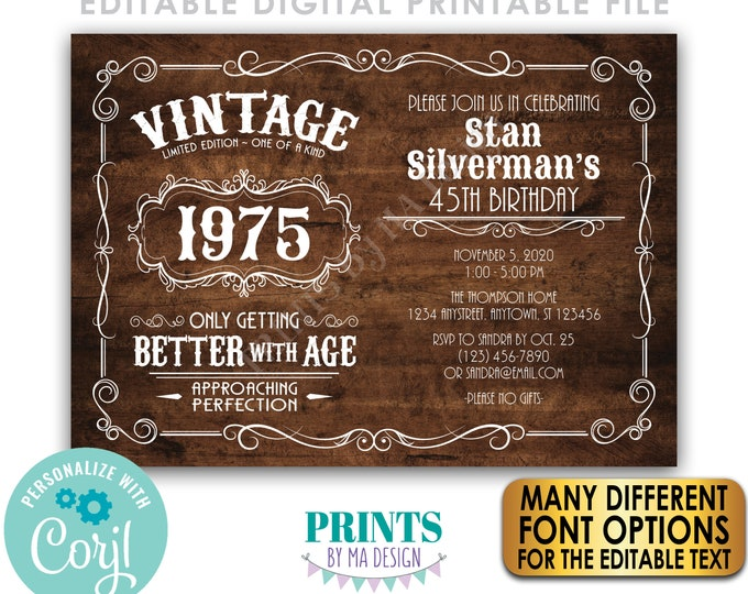 """Vintage Birthday Party Invitation, Better with Age Bday Invite, Rustic Wood Style PRINTABLE 5x7"""" Landscape File <Edit Yourself with Corjl>"""