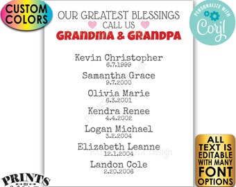 Our Greatest Blessings Grandparent Gift, Grandma & Grandpa, Grandkids, Custom PRINTABLE Grandchildren Sign <Edit Yourself w/Corjl>