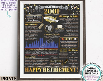 """Back in the Year 2001 Retirement Party Poster Board, Flashback to 2001 Sign, PRINTABLE 16x20"""" Retirement Party Decoration <ID>"""