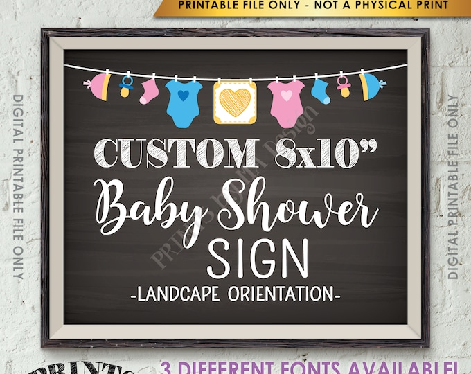 """Custom Baby Shower Sign, Choose Your Text, Baby Shower Decor, Choose the Clothesline Design, PRINTABLE 8x10"""" Landscape Chalkboard Style Sign"""