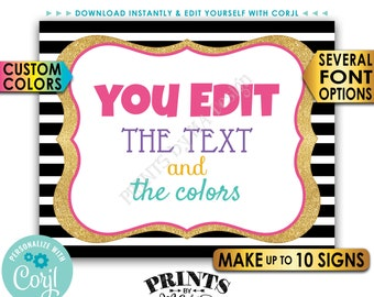 "Custom Sign, Design a Poster, Choose Your Text/Colors, Black & Gold Glitter PRINTABLE 8x10/16x20"" Landscape Signs <Edit Yourself with Corjl>"