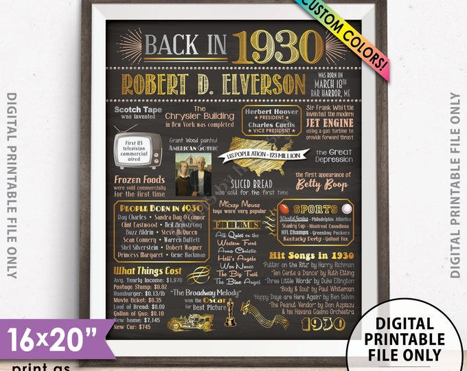 """Flashback to 1930 Poster, Back in 1930 Flashback Sign, Born in 1930 Birthday Party Decor, Chalkboard Style PRINTABLE 8x10/16x20"""" 1930 Poster"""