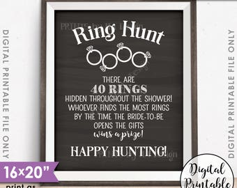 """Ring Hunt Game for 40 RINGS Bridal Shower Game Ring Scavenger Hunt for 40 Rings, PRINTABLE 8x10/16x20"""" Chalkboard Style Instant Download"""