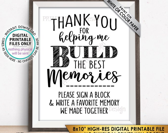 "Sign a Block Sign, Retirement Party, Thank You for Helping Me Build Memories, Graduation Party, Promotion, PRINTABLE 8x10"" Instant Download"