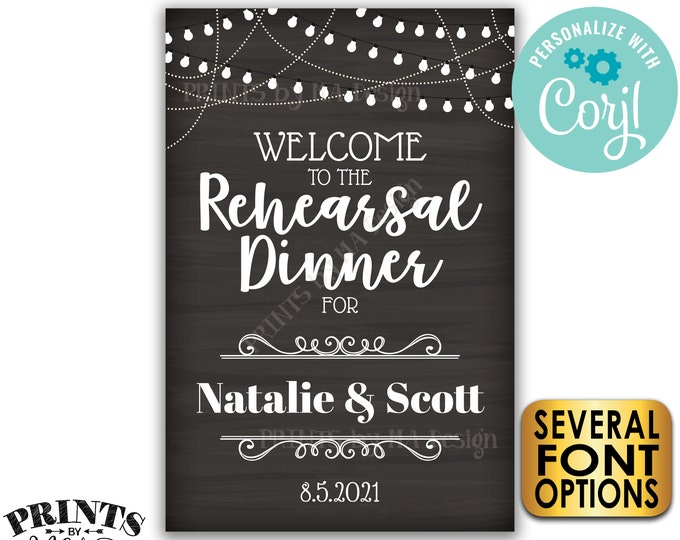 """Welcome to the Rehearsal Dinner Sign, Custom PRINTABLE 24x36"""" Chalkboard Style Rehearsal Decoration with Lights <Edit Yourself with Corjl>"""