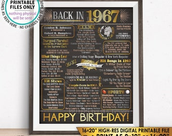 "1967 Birthday Flashback Poster, Back in 1967 Birthday Decorations, '67 B-day Gift, PRINTABLE 16x20"" B-day Sign <ID>"