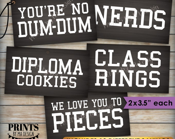 """Graduation Party Candy Signs, Candy Bar, Buffet, Smartie Cookie Ring Nerds, 2x3.5"""" Chalkboard Style Cards on PRINTABLE 8.5x11"""" Sheet <ID>"""