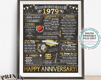"1979 Anniversary Flashback Poster, Back in 1979, Anniversary Gift, 1979 Party Decoration, PRINTABLE 16x20"" Sign <ID>"