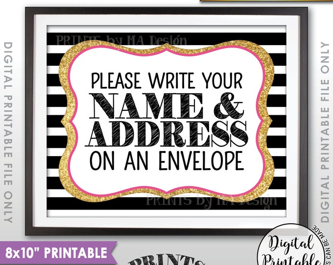 """Address an Envelope Sign, Bridal Shower, Gaduation Party, Birthday, Retirement, Black Pink Gold Glitter PRINTABLE 8x10"""" Addressee Sign <ID>"""