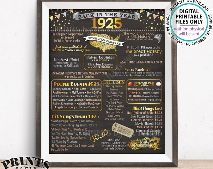 "1925 Flashback Poster, Flashback to 1925 USA History Back in 1925 Birthday Party Decoration, Born in 1925, PRINTABLE 16x20"" Sign <ID>"